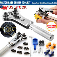 US Watch Repair Tool Kit Watchmaker Back Case Cover Opener Screw Wrench Remover