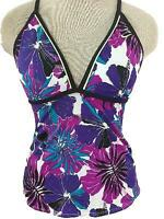 NIKE bathing suit size 10 tankini TOP ONLY purple blue floral built in bra
