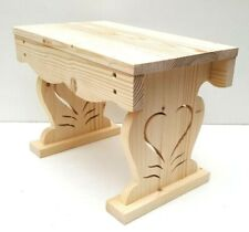 Wooden stool handmade pinewood stepping stool plant stand with heart shape decor