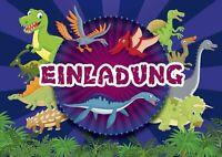 Lustige Dinosaurier-Einladungen zum Kindergeburtstag / ins Museum, 4-15 St