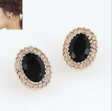 GOLD TONE FACETED BLACK  OVAL ACRYLIC & DIAMANTE RHINESTONE CRYSTALS  EARRINGS