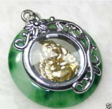 lovely interesting green jade Yellow gold plated buddha rotatable charm pendant