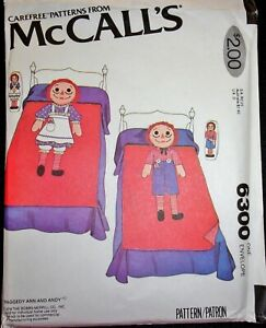 McCall's 6300 Raggedy Ann & Andy Twin Bedspread & Pillows Vtg Sewing Pattern FF