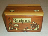 Vintage Wooden Recipe Box Hinged Cedar