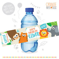 10 Personalised JUNGLE SAFARI Birthday Party Water Bottle Label Stickers Animals