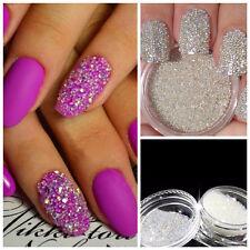 3g WHITE AB Multi Glass Micro Beads No Hole Nail Art Caviar Microbeads Decor New
