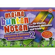 Meine bunte Noten für Klavier Keyboard Melodica und Triola  + Farbaufkleber