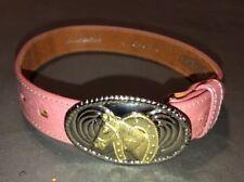 Nacona Size 18 Pink Leather Belt And Buckle Girls Youth Horse Shoe