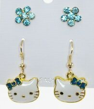 Cute kitten cat dangle earrings teal bow crystal Aqua flower post  2 pr