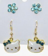 Cute kitten cat dangle earrings teal bow crystal Aqua flower post  2 pr