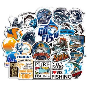 50PCS Funny Fishing Car Vinyl Stickers Go Fishing Laptop Styling Decoration