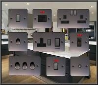 BLACK NICKEL FLAT PLATE STANDARD OR LED DIMMER LIGHT COOKER SWITCH PLUG SOCKET