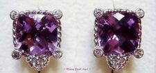 ❤ Judith Ripka Sterling Silver & Amethyst Pierced Earrings ~NEW~ ❤