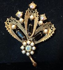 Stunning And Rare Early Hobe Rhinestone And Pearl Leaf Design Pin Brooch
