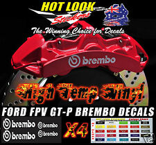 FORD FPV GT-P BREMBO BRAKE CALIPER DECAL STICKER KIT - Falcon XR6 XR8 GS FG BA