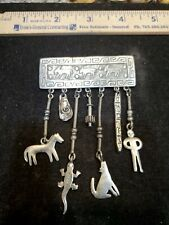 Jj 1988 Pewter Brooch Southwest Style With Dangle Pieces Wolf Lizard Horse
