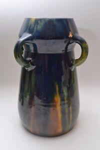 Stunning Large Art Nouveau / Arts & Crafts Belgian Drip Glaze 4 Handled Vase