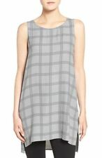 Eileen Fisher NWT $278 gray 100% silk georgette crepe sleeveless tunic size Larg
