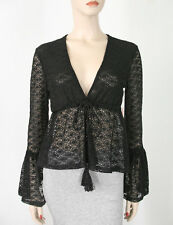 MinkPink Sunshine Lover Bell Sleeve Lace Top Blouse Black S $79 9539 BM12