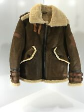 Hanmiis Mens Leather And Sheep Fur Lined Aviator Jacket Brown X-large NEW=
