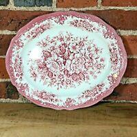 "Royal Staffordshire Avondale Ironstone J&G Meakin England Oval Platter 12"" Pink"