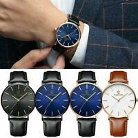 Fashion Leather Band Analog Quartz Round Wrist Watch Business Men's Watch Gift