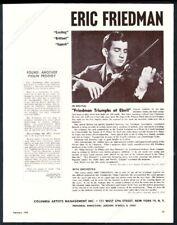 1960 Eric Friedman photo violin recital tour booking trade print ad