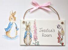 Personalised Beatrix Potter Plaque Door Bedroom Sign Boy Baby Peter Rabbit