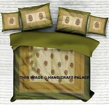 Indian Handmade Silk Embroidered Bedspread Bed cover Bedding Set Queen Size