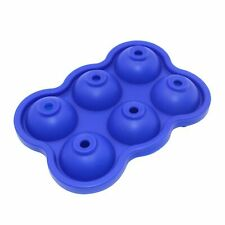 Blue 6 Cavity Silicone Round Ice Cube Tray,Ice Ball Maker,Resistan (-40°C~240°C)
