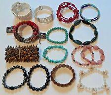 Tiger's eye stone cluster bracelet, turquoise rock, + other vintage bracelets