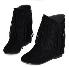 Women Ladies Suede Fringe Tassel Ankle Boots Pull on Hidden Wedge Casual Booties