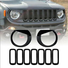 Front Grill Insert+Angry Eyes Headlight Bezel Cover For 2015-2018 Jeep Renegade