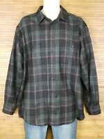Pendleton Black Plaid 100% Wool Button Front Shirt Mens Size Large L EUC