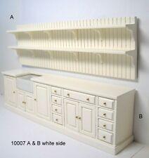 DOLLHOUSE MINIATURE - Kitchen Unit - White Painted Wood -Top Shelf & Base Unit