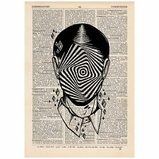 Surreal Hypnotic Face Dictionary Print OOAK, Mystic, Art, Unique, Gift,
