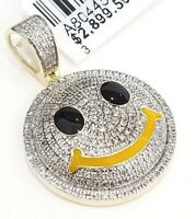 Real 10K Yellow Gold Genuine Diamonds Smile Face Emoji Chill Happy Charm Pendant