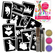 PRINCESS GIRLS GLITTER TATTOO BODY ART KIT for Sleepovers, Parties & Gifts