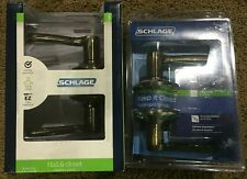 Lot of (2) New Schlage F10 V Fla 609 Hall/Closet Flair Lever Antique Brass