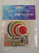 New paper Crafting Vellum Tags (Set of 15) assorted size, multicolor