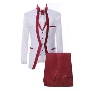 White Paisley Premium Floral Red Rim Stage Groom Tuxedo Wedding Suit Custom