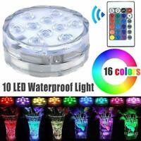 10 Led Underwater Submersible Light Remote Controlled Swimming Pool Xmas Decors
