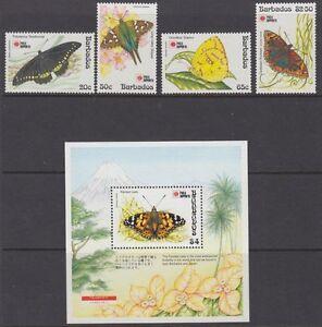 BARBADOS :1991 Phila-Nippon 91 (Butterflies) set + MSheet SG960-3 +MS964 MNH