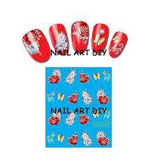 20 stickers nail art water transfer-unghie adesivi fiori rossi con farfalle !!