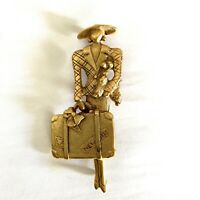 """Vintage Gold Plated Brooch Pin Lady Carrying New York Suitcase Dog Lapel Pin 3"""""""