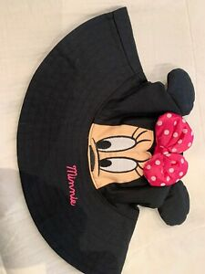 Toddler Minnie Mouse Bucket Sun Hat Black & Red With EARS!  Great Condition