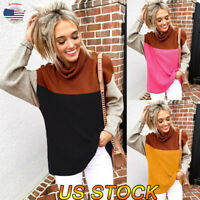Women Knitwear Sweater Top High Neck Loose Sweatshirt Jumper Baggy Blouse Tops
