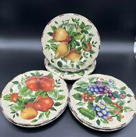 Sakura Oneida Sonoma TAN Stoneware Fruit Pattern Set of Six 6 Salad Plates GUC