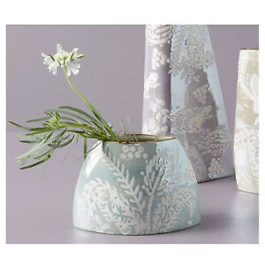 Anthropologie Holly Vase Handpainted Green Blue Woodland Rustic New