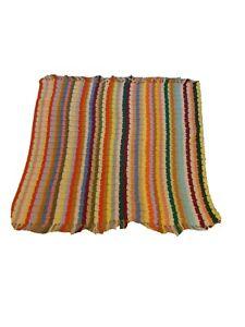 Vtg Hand Crafted Multi Color Striped Fringe Crochet Afghan Throw Blanket 52 x 45